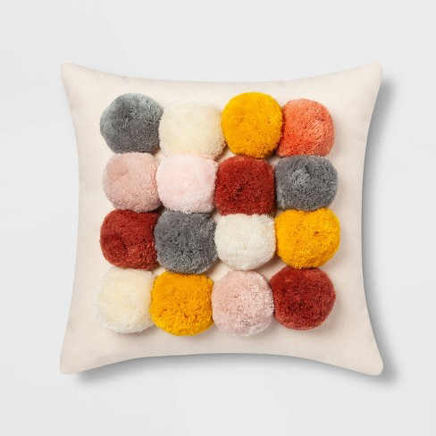 Square Throw Pillow with Poms Cream - Opalhouse™ - image 1 of 4