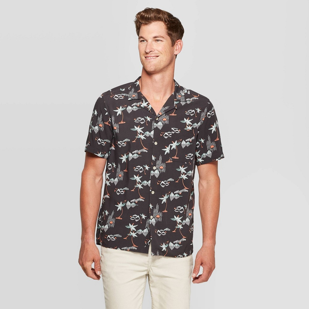 Men's Island Print Standard Fit Button-Down Shirt - Goodfellow & Co Gray S was $19.99 now $12.0 (40.0% off)
