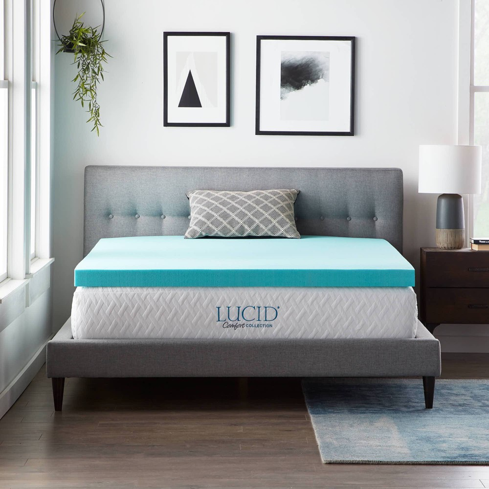 California King Comfort Collection 3 SureCool Gel Infused Memory Foam Mattress Topper - Lucid Cheap