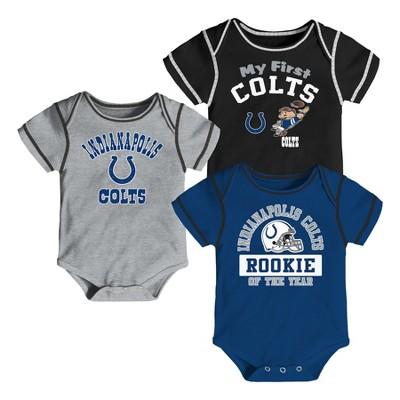 Indianapolis Colts Boys' Newest Fan 3pk Bodysuit Set 0-3 M