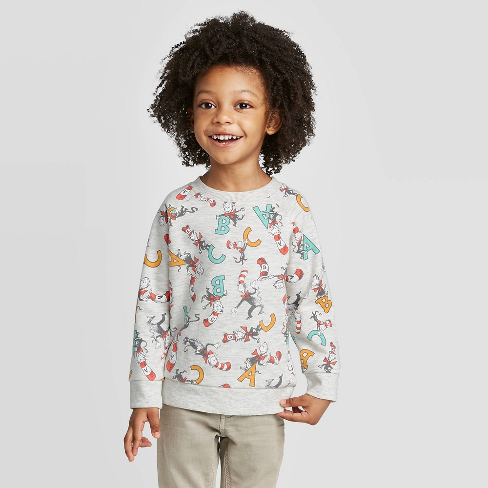 Image of Toddler Boys' Dr. Seuss Cat in the Hat Pullover Sweatshirt - Heather Oatmeal 18M, Boy's, Beige