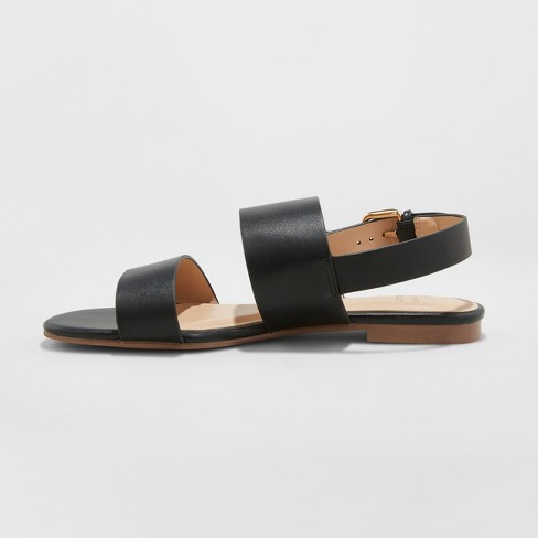 ccbc2680f6f Women s Sabrina Wide Width Two Band Buckle Slide Sandals - A New Day™ Black  5.5   Target