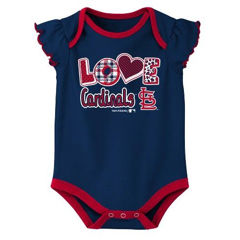 53bb00d8 St. Louis Cardinals Baby Girls' 3pk Flutter Short Sleeve Bodysuit - 0-3M
