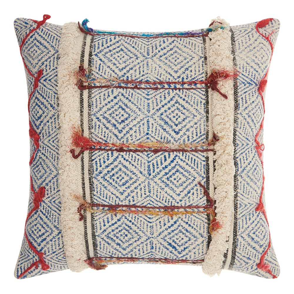 Image of Gray And Cream Mosaic Throw Pillow - Mina Victory