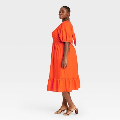 Women's Puff Elbow Sleeve Open Back Dress- Who What Wear™