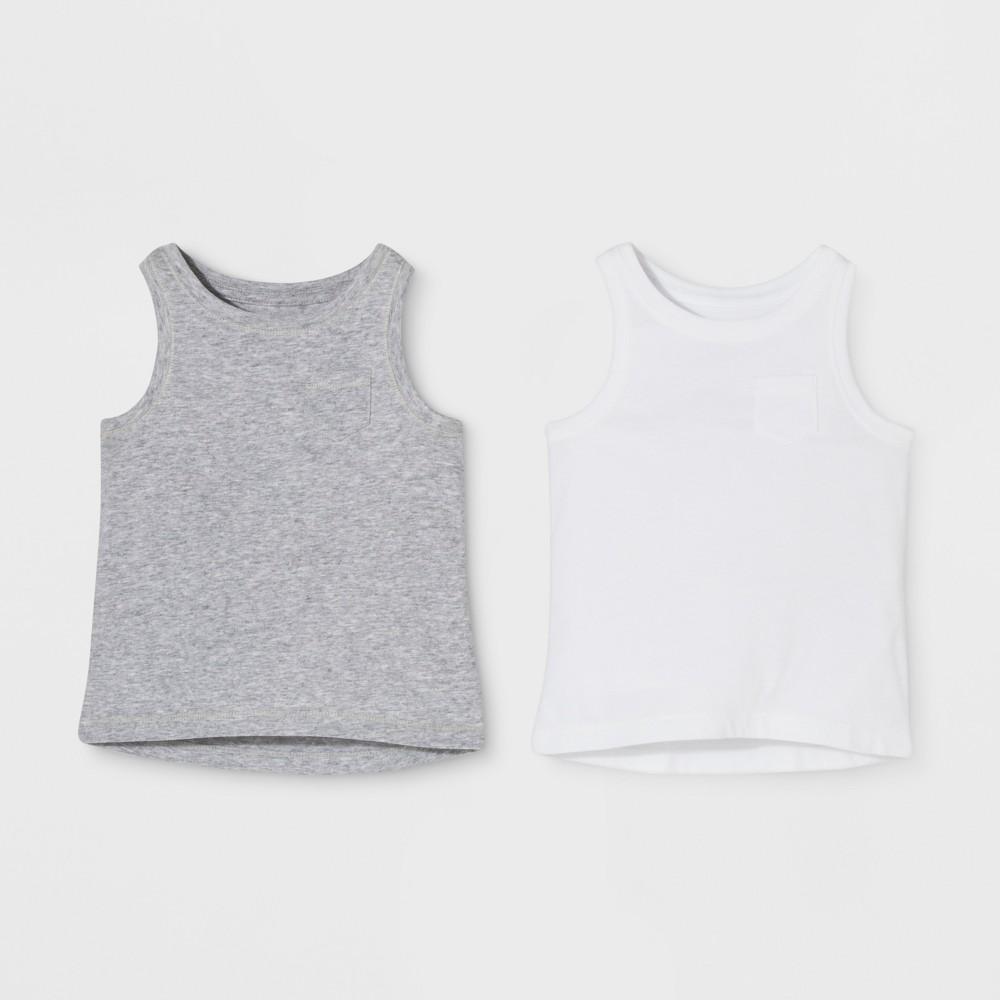 Toddler Girls' 2pk Sleeveless T-Shirt Set - Cat & Jack White/Gray 18M