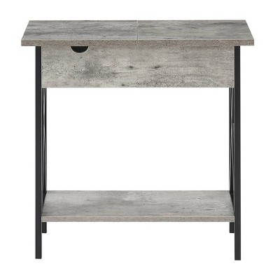 Tucson Flip Top End Table with Charging Station Faux Birch - Breighton Home