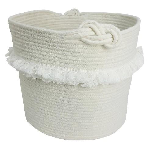 Rope Toy Storage Basket with Fringe Large White - Pillowfort™ - image 1 of 4