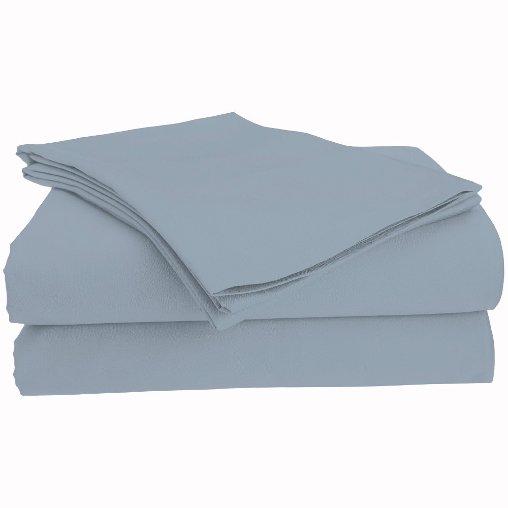 Image of Full Brushed Cotton Solid Sheet Set Steel Blue - Posh Home, Silver Blue
