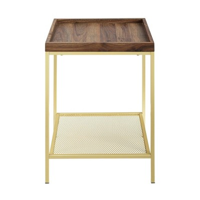 Glam Square Tray Side Table with Metal Mesh Shelf  - Saracina Home
