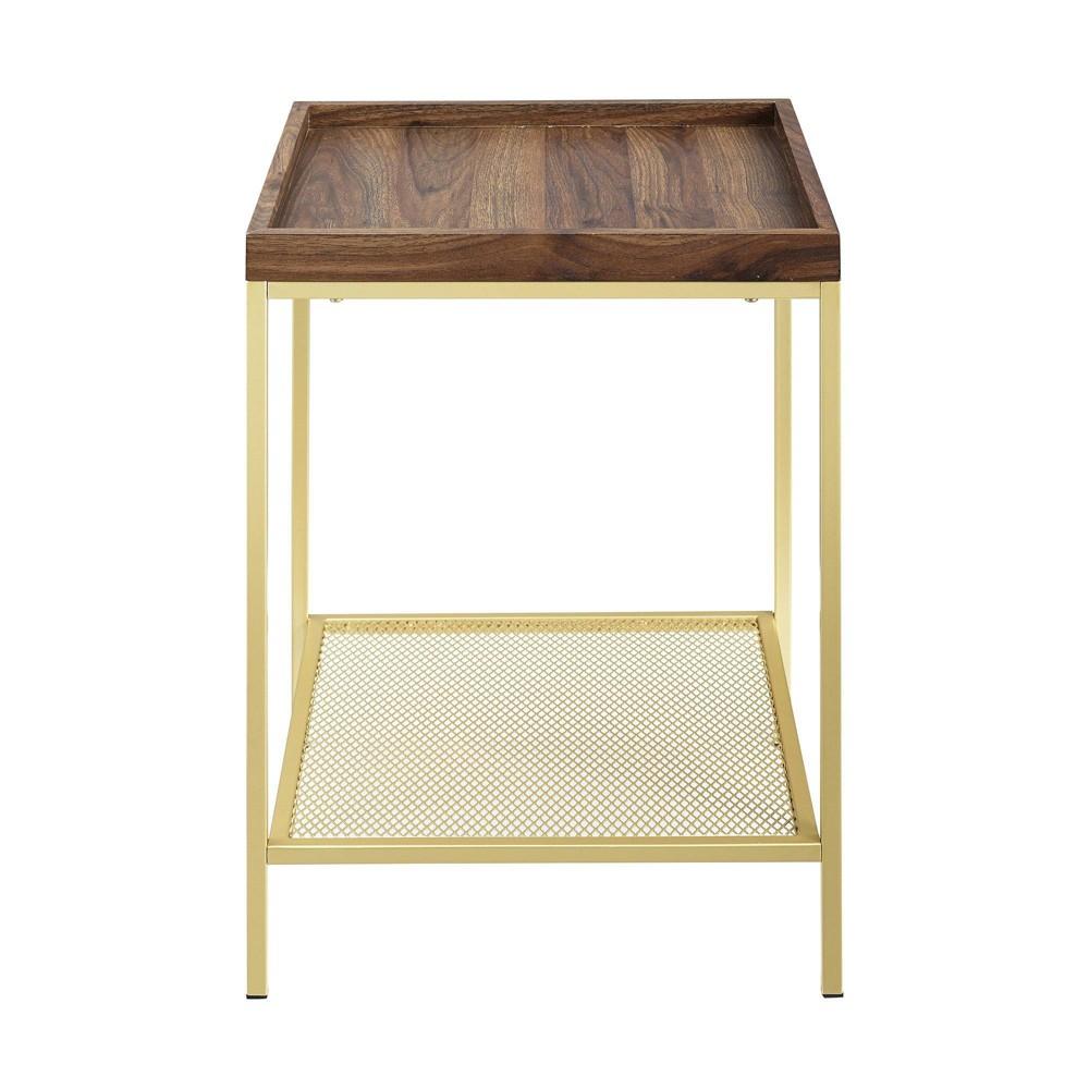Glam Square Tray Side Table With Metal Mesh Shelf Dark Walnut Gold Saracina Home
