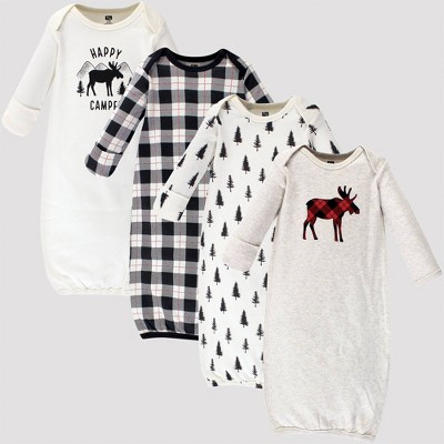 Hudson Baby Girls' 4pk Organic Cotton Moose Gown - Off White 0-6M