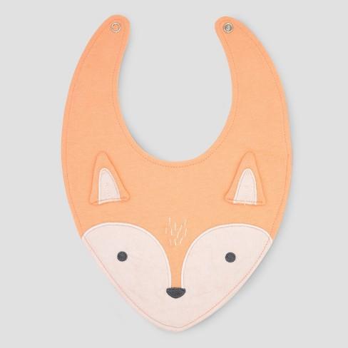 Baby Fox Bib - Cloud Island™ Orange One Size - image 1 of 1