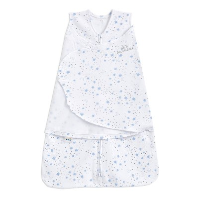 HALO Innovations Sleepsack 100% Cotton Swaddle Wrap Midnight Moons - Blue Newborn