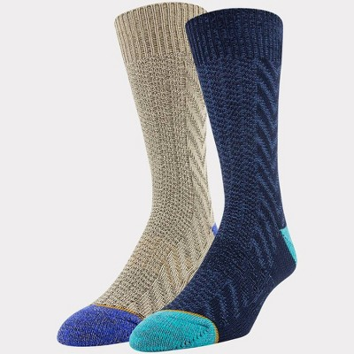 Signature Gold by GOLDTOE Men's Native Nomad Crew Cable Knit Socks 2pk - Peacoat 6-12.5