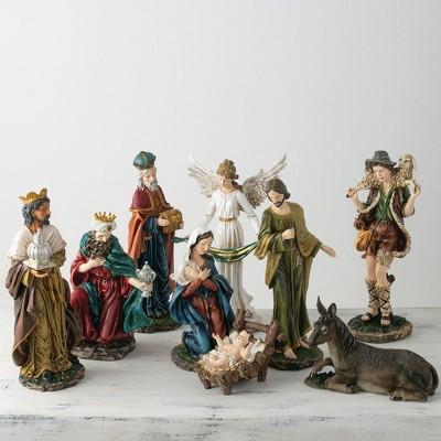 "Sullivans Set of 9 Nativity Figurines 19.5""H, 15.5""H, 20""H, 19.5""H, 8.75""H, 20.5""H, 20""H, 6.5""H & 14.5""H Green"