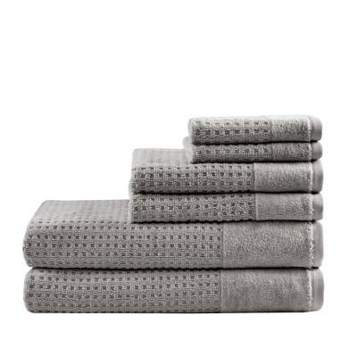 6pc Spa Waffle Jacquard Cotton Bath Towel Set Dark Gray