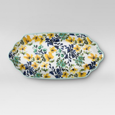 Rectangular Melamine Serving Platter Yellow/Blue Floral - Threshold™