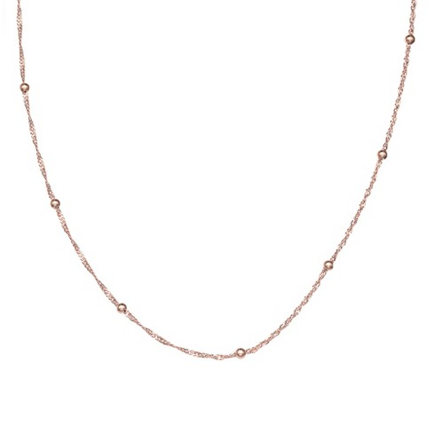 Women s Diamond Cut Singapore Necklace With Ball Stations In Rose ... 0d6e176ae