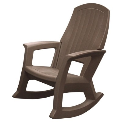 Semco Plastics SEMTPE Extra Large Recycled Plastic Resin Durable Outdoor Patio Rocking Chair, Taupe Brown