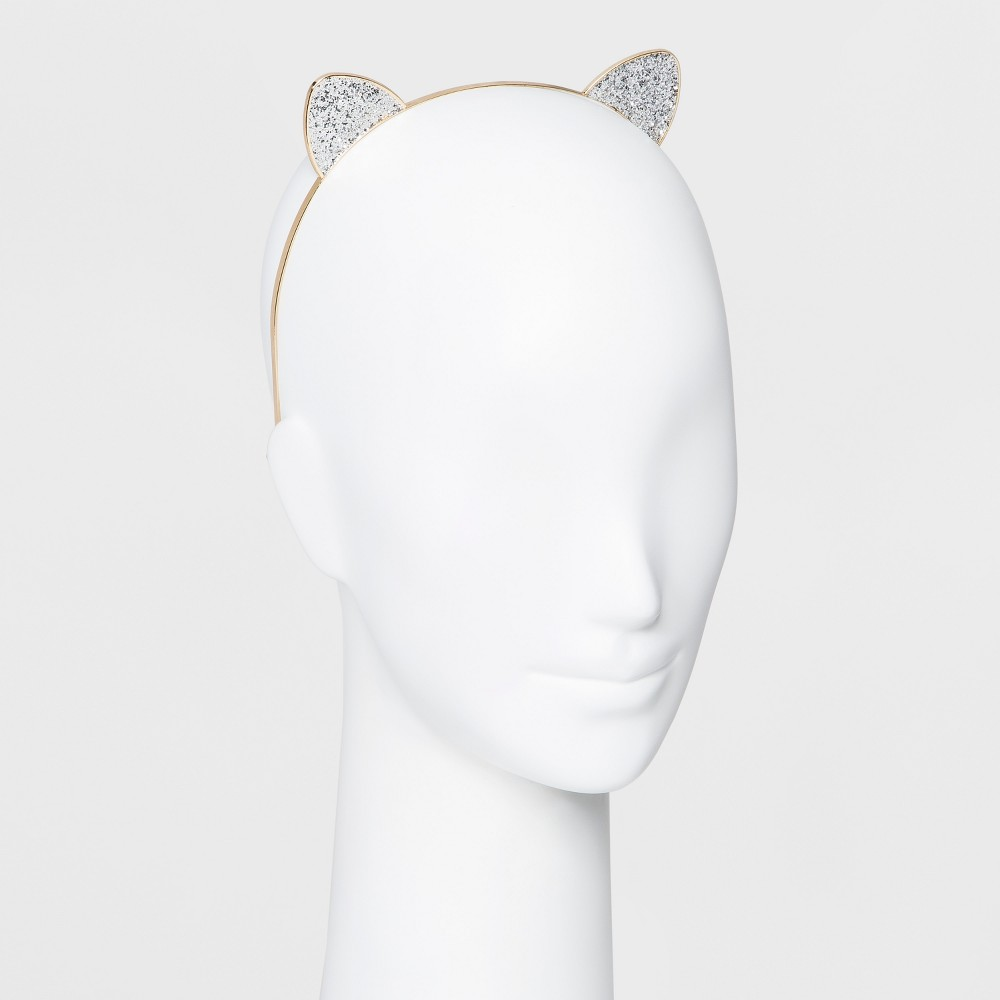 Metal Headband with Cat Glittered Cat Ears - Gold