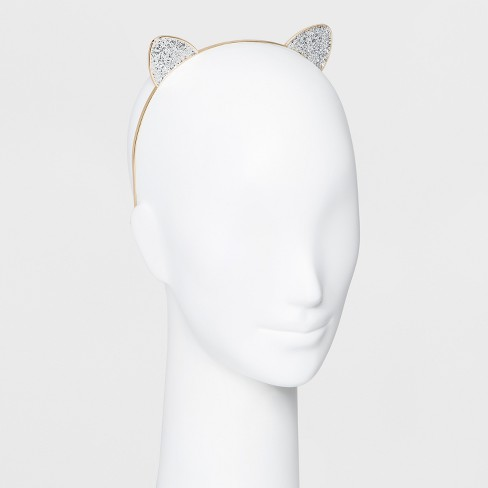 metal headband with cat glittered cat ears gold target