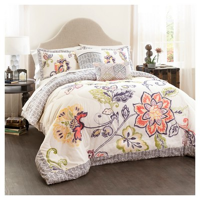 Aster Quilted Comforter Set (King)Coral&Navy 5pc - Lush Décor®