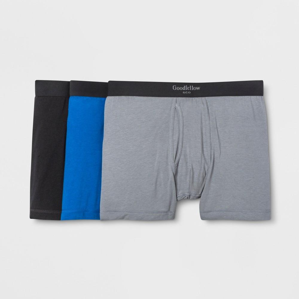 Men's Premium Knit 3pk Boxer Briefs - Goodfellow & Co Deep Blue/Gray/Black M was $18.99 now $9.99 (47.0% off)