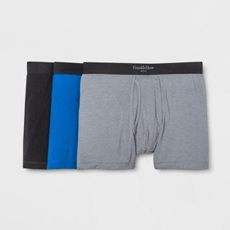 Men's Premium Knit 3pk Boxer Briefs - Goodfellow & Co™ Deep Blue/Gray/Black M