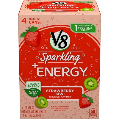 V8 Sparkling +Energy Strawberry Kiwi Juice Drink - 4pk/11.5 fl oz Cans