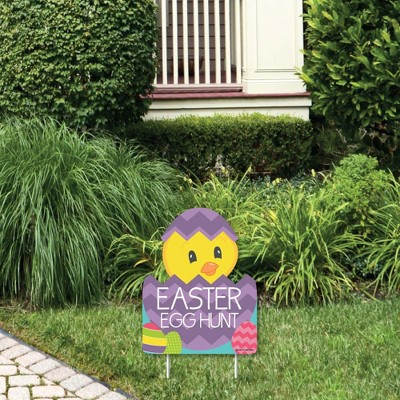 Big Dot of Happiness Hippity Hoppity - Outdoor Lawn Sign - Easter Bunny Party Yard Sign - 1 Piece