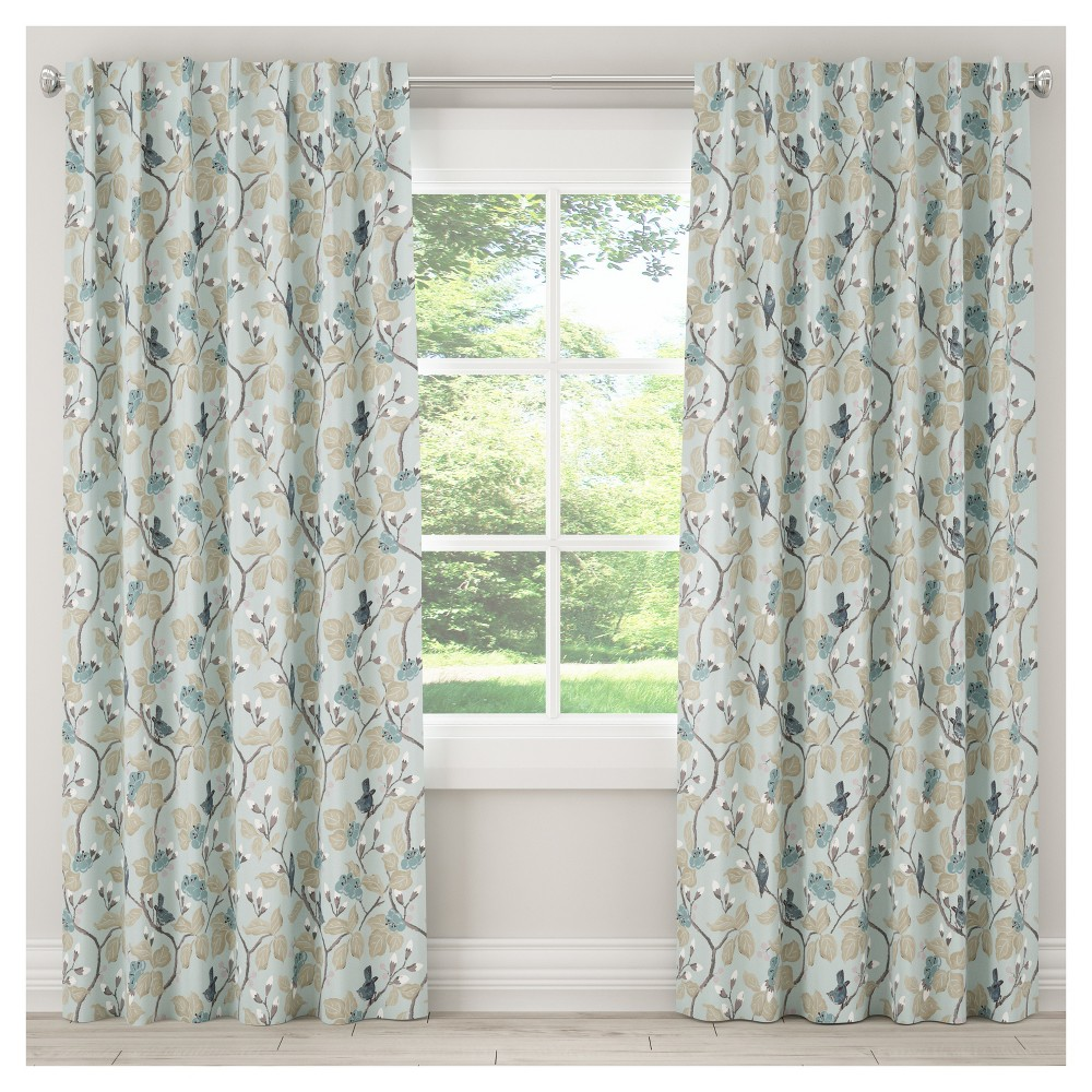 Blackout Chinois Curtain Panel Blue (50