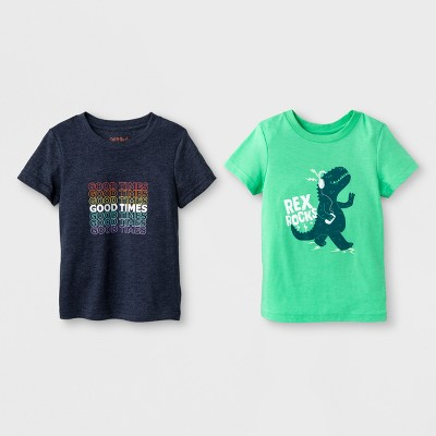 Toddler Boys' 2pk Rockin' Good Times Short Sleeve T-Shirt - Cat & Jack™ Green 3T