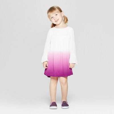 Toddler Girls' Bell Sleeve A Line Dress - Genuine Kids® from OshKosh White/Purple 12M