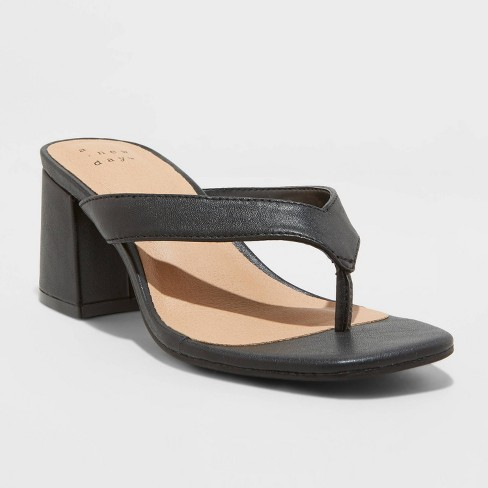 Women's Hazel Heel Thong Sandals - A New Day™ Black - image 1 of 4
