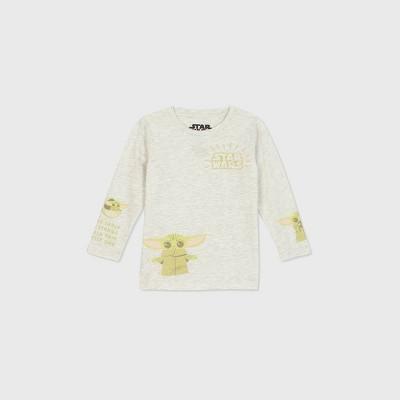 Toddler Boys' Star Wars Baby Yoda Long Sleeve Graphic T-Shirt - Beige 18M