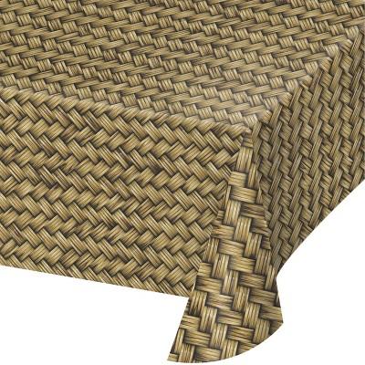 Basket Weave Plastic Tablecloth