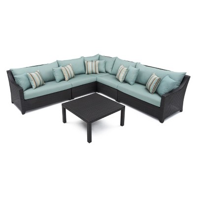 RST Brands Deco 6-piece Sectional and Table Set - Bliss Blue