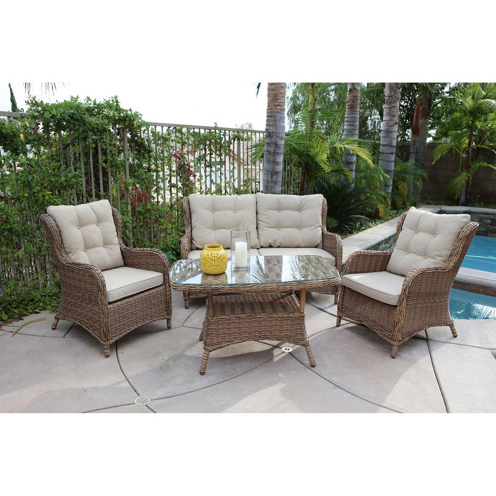 Image of 4pc Canterbury Wicker Seating Set - Royal Garden
