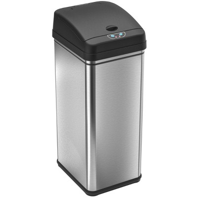 iTouchless Sensor Kitchen Trash Can with AbsorbX Odor Filter 13 Gallon Silver Stainless Steel