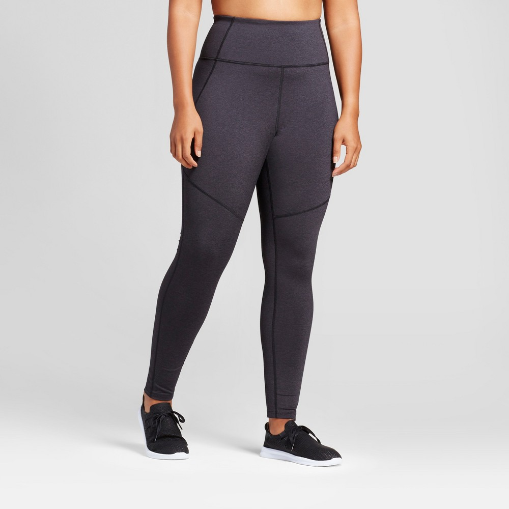 Plus Size Women's Plus High Waist Mini Stripe Leggings - JoyLab Black 3X