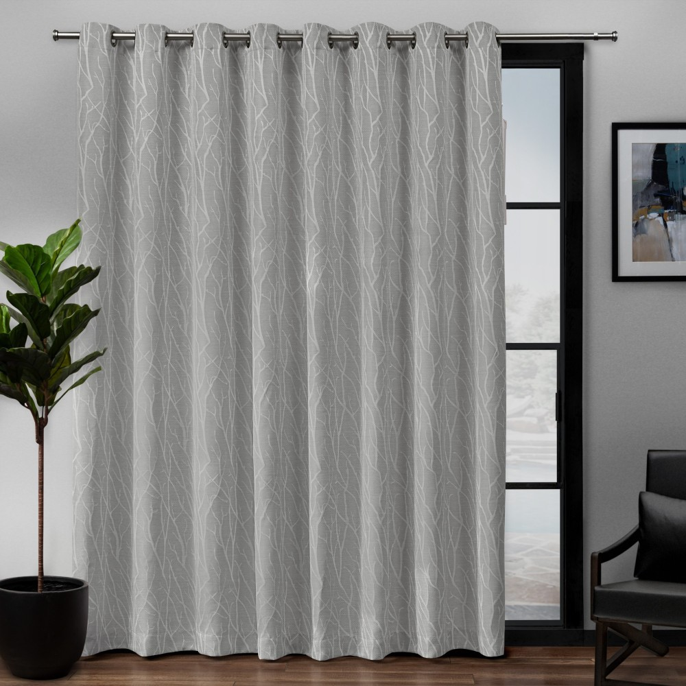 "Image of ""108""""x84"""" Forest Hill Patio Woven Blackout Grommet Top Single Curtain Panel Dove Grey - Exclusive Home, Light Gray"""