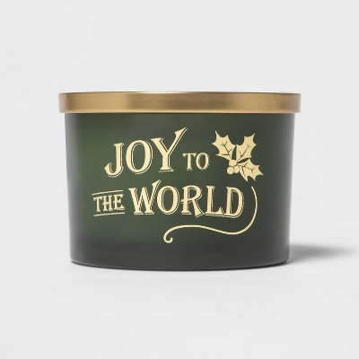 15oz Holiday Sentiment Decal Glass Jar Candle 'Joy to the World' - Threshold™