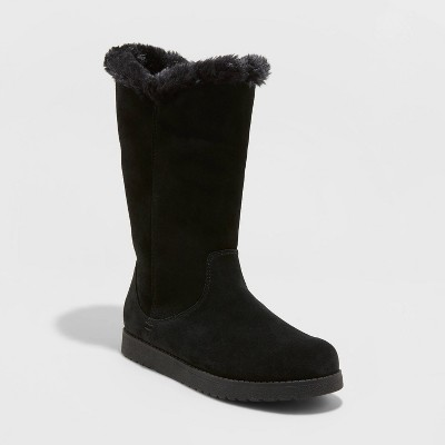 Women's Charleigh Tall Shearling Style Boots - Universal Thread™ Black 6
