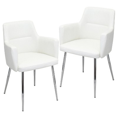 Contemporary white dining chairs Dining Room Andrew Contemporary Dining Chair Metaloffwhite set Of 2 Lumisource Target Target Andrew Contemporary Dining Chair Metaloffwhite set Of
