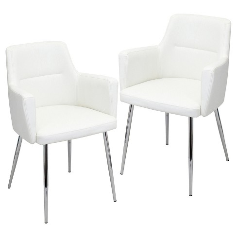 Set Of 2 Andrew Contemporary Dining Chair Metal Off White Lumisource Target