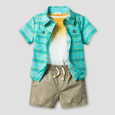 Baby Boys' Woven Shirt, Bodysuit and Shirt Set - Cat & Jack™ Turquoise/Tangerine/Khaki 3-6 Months