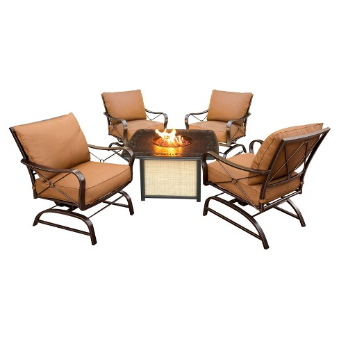Bradford 5pc Metal Patio Conversation Set with Fire Pit Table - Tan - Hanover - image 1 of 7