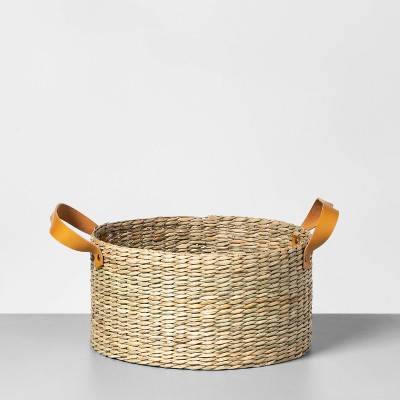 Short Seagrass Basket with Leather Handle Medium - Hearth & Hand™ with Magnolia