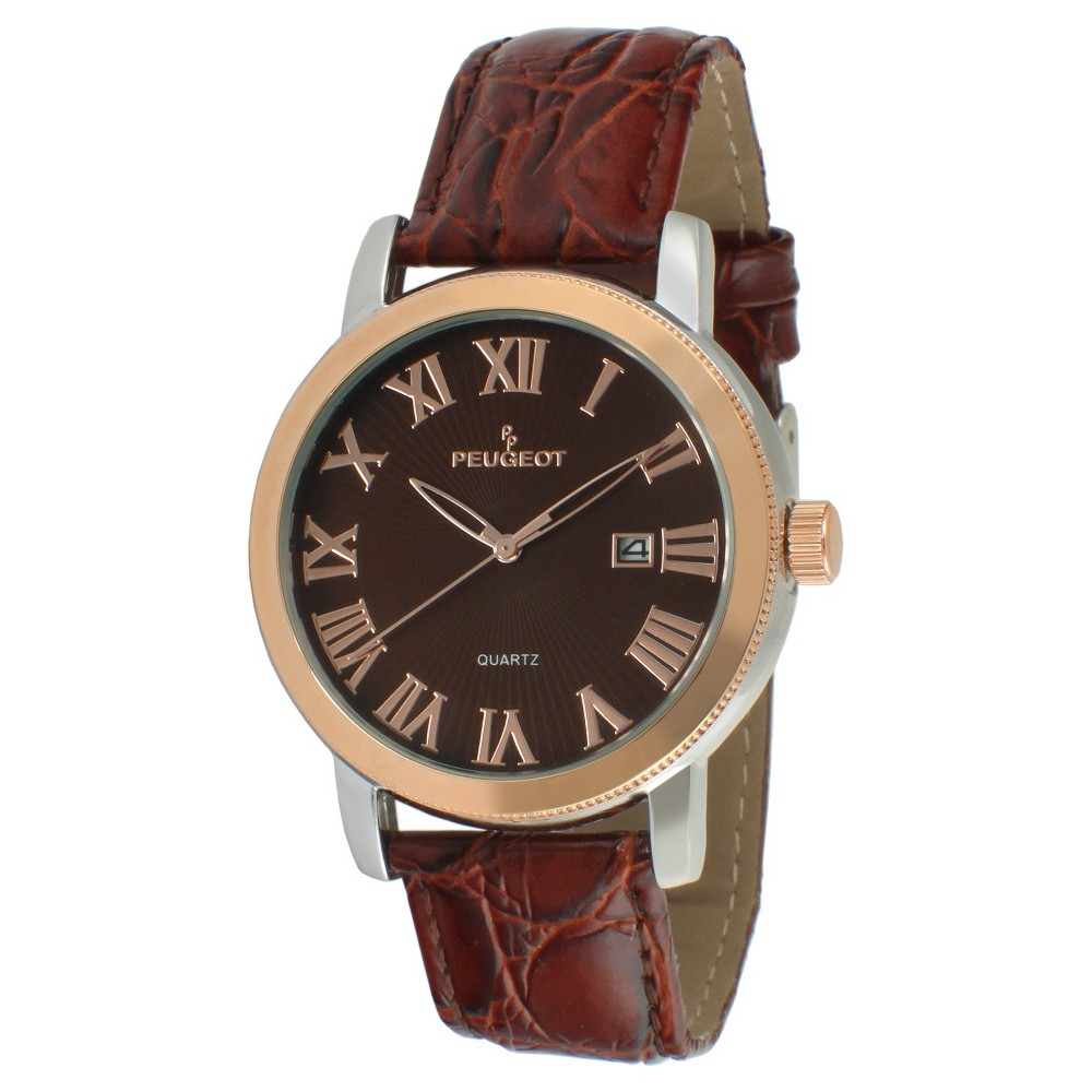 Men's Peugeot Round Leather Strap Calendar Watch - Brown This dress timepiece features an analog time display. Color: Brown. Gender: Male. Age Group: Adult. Material: Leather.